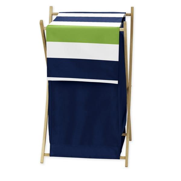 Sweet Jojo Designs Navy and Lime Stripe Laundry Hamper
