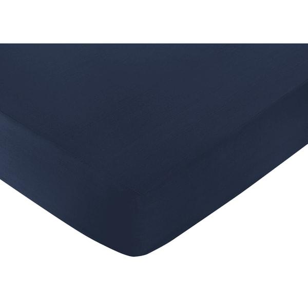Sweet Jojo Designs Ocean Navy Blue Fitted Crib Sheet