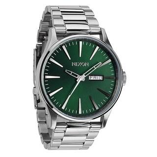 Nixon Men's A561696-00 Silvertone Quartz Green Dial Watch