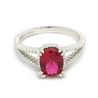 De Buman Created Ruby Sterling Silver Ring