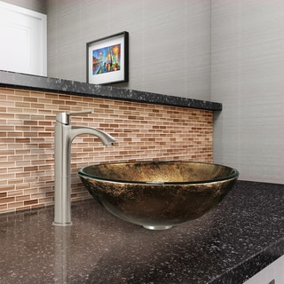 Vigo Sintra Glass Vessel Sink and Linus Brushed Nickel Finish Faucet Set