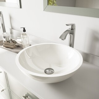 VIGO Flat Edged White Phoenix Stone Glass Vessel Sink and Linus Faucet Set in Brushed Nickel Finish