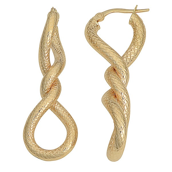 Fremada 10k Yellow Gold Diamond-cut Twisted Elongated Hoop Earrings