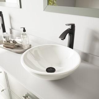 VIGO White Phoenix Stone Glass Vessel Sink and Linus Faucet Set in Antique Rubbed Bronze Finish