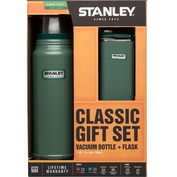 Stanley Classic 1.1-quart Vacuum Bottle with 8-ounce Flask Gift Set