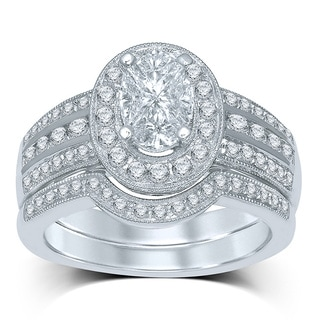 Unending Love 14k White Gold 1 1/3ct TDW Oval-cut Cushella Diamond 'Love Cuts' Bridal Set (G-H, SI2-SI3)