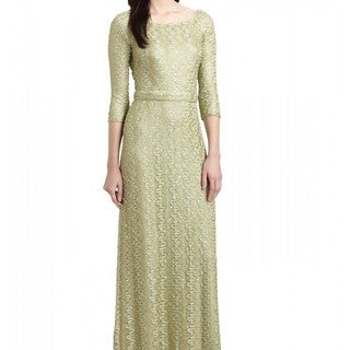 David Meister Women's Sage Sequin Bedecked Lace Evening Gown