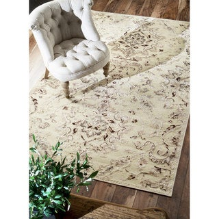 nuLOOM Velvet Vintage Faux Silk Fancy Cream Rug (7'8 x 9'6)