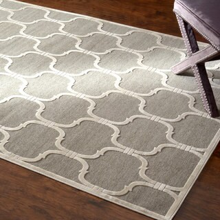 nuLOOM Velvet Lattice Faux Silk Fancy Light Grey Rug (7'7 x 10')