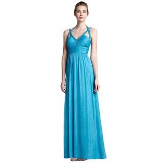 Aidan Mattox Women's Crystal Blue Chiffon Beaded Evening Gown