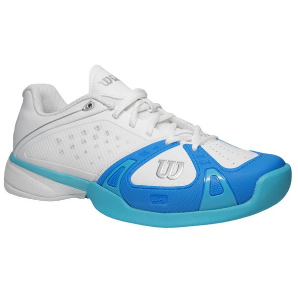 wilson s pro white and pool blue tennis shoes