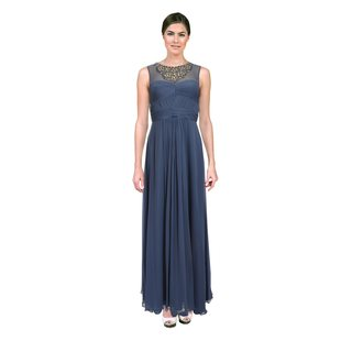 Aidan Mattox Women's Thistle Blue Necklace-beaded Evening Gown