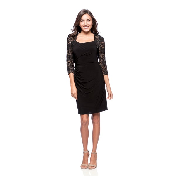 Alex Evenings Women's Black Cocktail Dress with Illusion Lace Sleeves