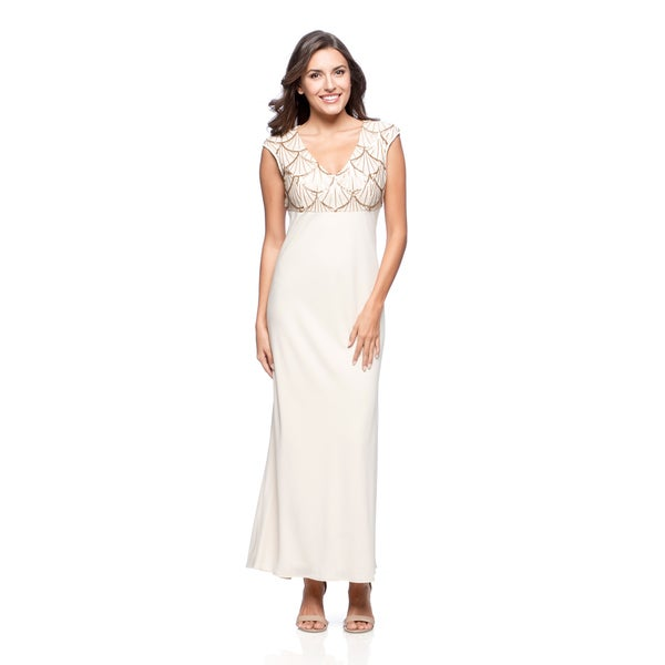 Alex Evenings Women's Cream Sequin-bodice Evening Gown