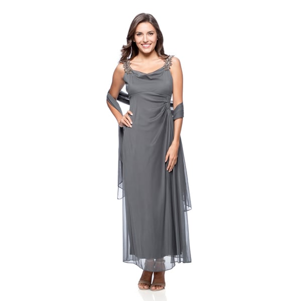 Alex Evenings Women's Steel Beaded-strap Evening Gown with Shawl