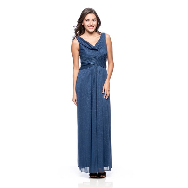 Alex Evenings Women's Electric Blue Glitter Mesh Evening Gown