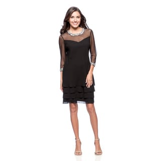 Alex Evenings Women's Black Triple Tiered Cocktail Dress