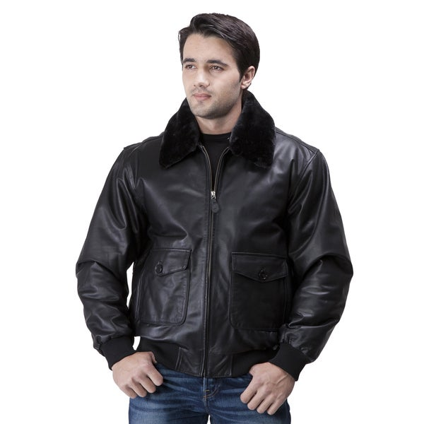 Men's 'G1' Black Leather Flight Bomber Jacket