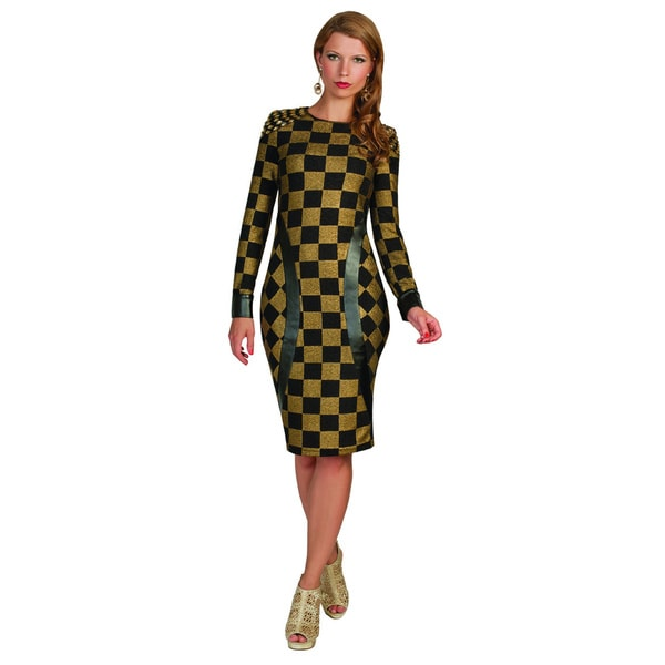 Kayla Collection Women's Black and Gold Checkered Straight Dress