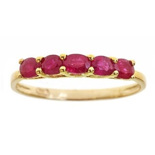 Anika and August 10k Yellow Gold Oval-cut Ruby Fashion Ring