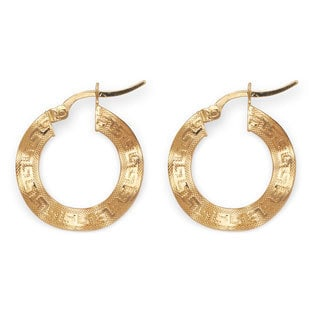 14k Yellow Gold Greek Key Twisted Hoop Earrings