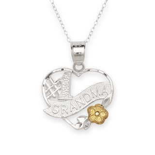 Sterling Silver Two-tone 'Number-1 Grandma' Heart Charm Necklace