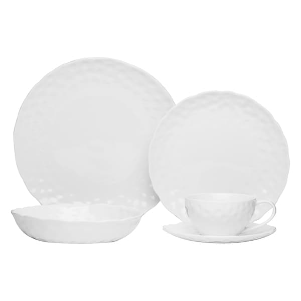 Red Vanilla Marble Round 5-piece Dinnerware Set