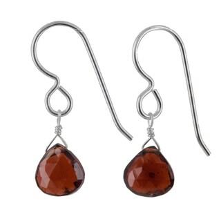 Ashanti Sterling Silver Garnet Gemstone Handmade Earrings (Sri Lanka)