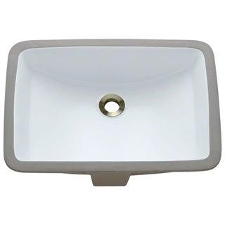 MR Direct U1913-W White Rectangular Undermount Porcelain Bathroom Sink