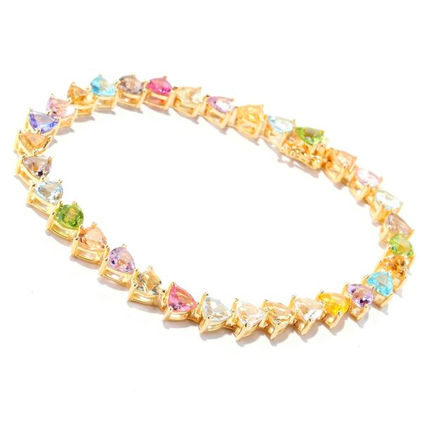 18k Yellow Gold over Silver Vermeil Multi-gemstone Tennis Bracelet