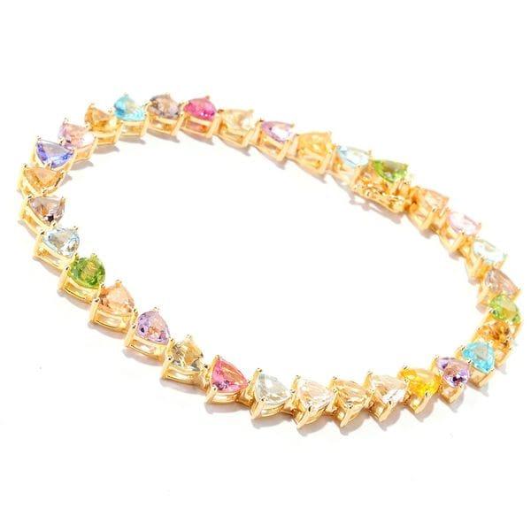 18k Yellow Gold over Silver Vermeil Multi-gemstone Tennis Bracelet