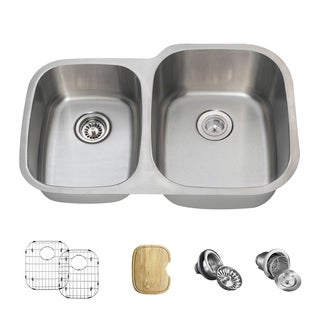 MR Direct 503-18 Offset Double Bowl Stainless Steel Sink
