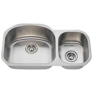 MR Direct 501R-18 Offset Double Bowl Stainless Steel Kitchen Ensemble