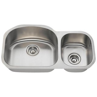 MR Direct 501 Offset Double Bowl Stainless Steel Sink