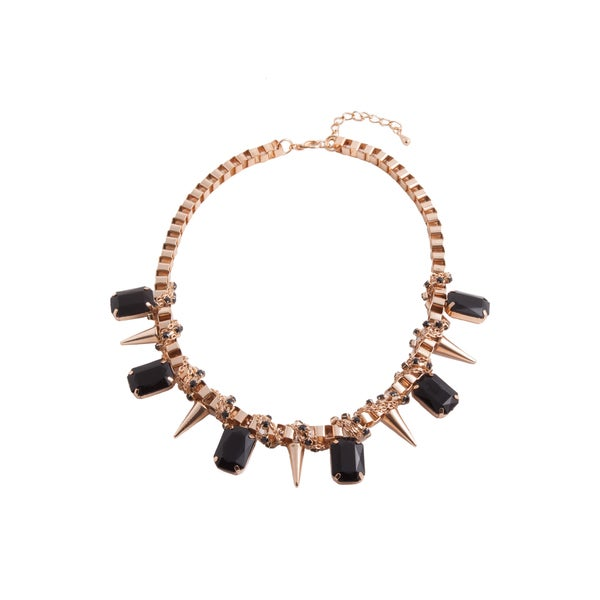 Goldtone Black Crystal Box Chain Necklace