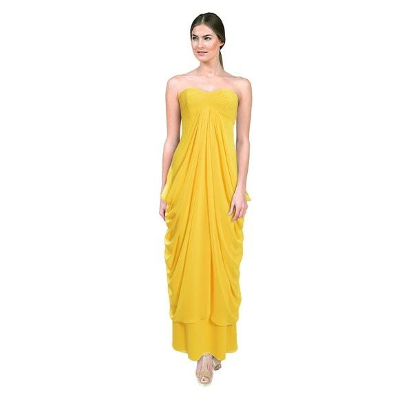 Laundry by Shelli Segal Women's Canary Yellow Strapless Draped Gown