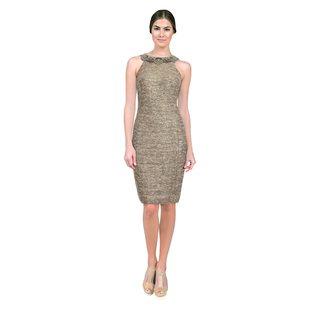 Teri Jon Women's Gold Flecked Metallic Beaded Halter Dress