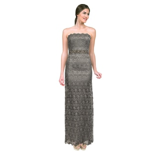 Teri Jon Women's Platinum Lace Strapless Evening Gown