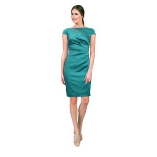 Kay Unger Women's Teal Green Cut-out Cocktail Dress