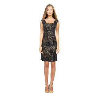 David Meister Women's Black Sequined Floral Pattern Dress