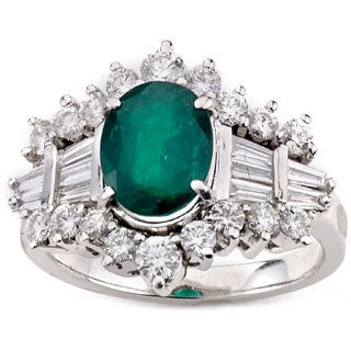 Neda Behnam 14k White Gold 3 1/4ct TDW DFAC Diamond and Emerald Ring (G-H, SI1-SI2)