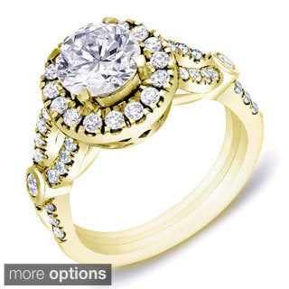 Auriya 14k Gold 1 1/2 ct TDW Certified Round Diamond Braided Engagement Ring (H-I, SI1-SI2)