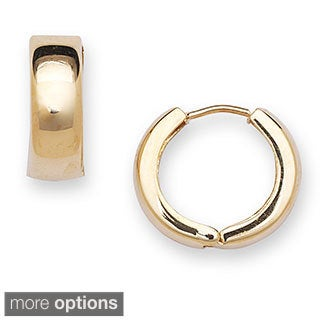 10k Gold Polished Small Hinged Hoop Earrings