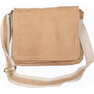 David King Leather 6111 Distressed North/South Messenger Bag Tan