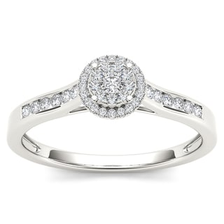 De Couer 10k White Gold 1/4ct TDW Diamond Engagement Ring (H-I, I2)