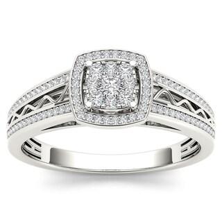 De couer 10k White Gold 3/8ct TDW Diamond Composite Engagement Ring (H-I, I2)