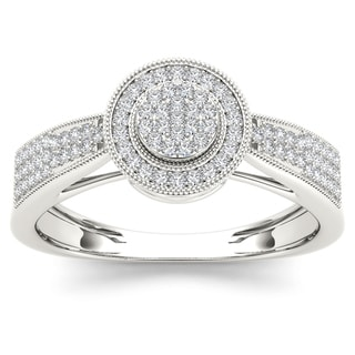 De Couer 10k White Gold 1/4ct TDW Diamond Composite Engagement Ring (H-I, I2)
