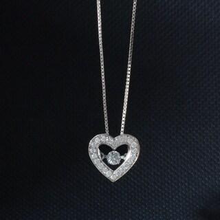 De Couer 10k White Gold 1/5ct TDW Diamond Moving Heart Beat Pendant (H-I, I2)