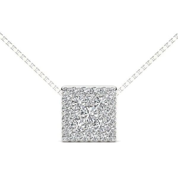 De Couer 10k White Gold 1/2ct TDW Diamond Cluster Pendant (H-I, I2)