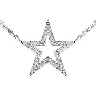 De Couer 10k White Gold 1/8ct TDW Diamond Star Necklace (H-I, I2)